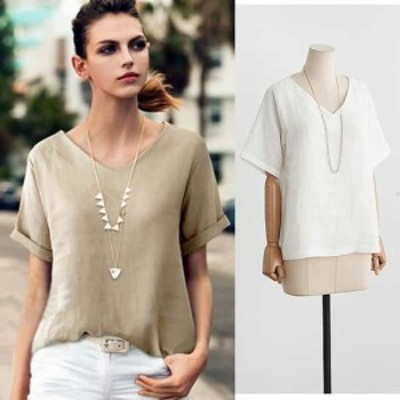 綿麻混でナチュラルな雰囲気に ベーシックなVネックTシャツ Tシャツ トップス 綿麻混 Vネック 半袖 無地 ゆったり 体型カバー 大きいサ