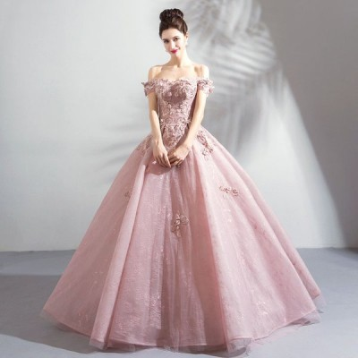 カラードレス 花嫁 二次会 演奏会 プリンセスドレス ウェディングドレス 結婚式 パーティードレス