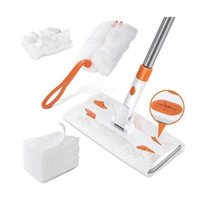 Masthome フロアワイパー フローリングワイパー 床掃除ワイパー 組立式 モップワイパー 水拭き 乾拭き 30枚ドライシート付き ハン