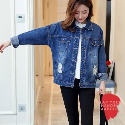 大きいサイズ ジャケット レディース ファッション おおきいサイズ  アメカジ ストリート デニム Gジャン  ゆったり 大きめ LL 3L 4L 5L 6L 秋冬
