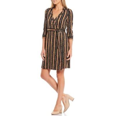 ジュリーブラウン レディース ワンピース トップス Printed Stripe V-Neck 3/4 Sleeve Wrap Dress Navy Scholar