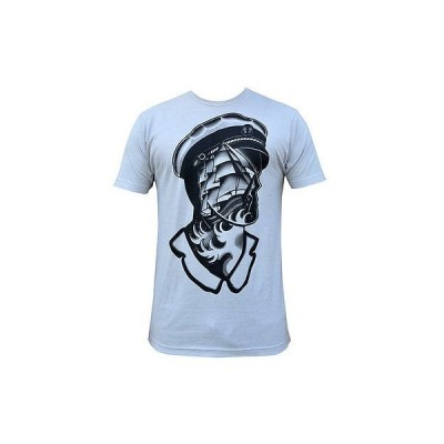 Tシャツ メンズ ブラックマーケットアート Men's Sail The Sea T-Shirt Silver By Emil Supertramp Tattoo Nautical Ship Sailor