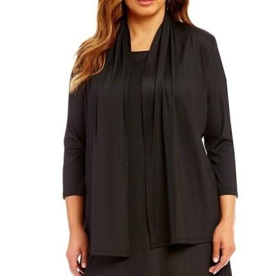 カスパール レディース ジャケット・ブルゾン アウター Plus Size 3/4 Sleeve Cinched Back Rib Knit Cardgan