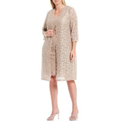 アレックスイブニングス レディース ワンピース トップス Plus Size Scalloped Sequin Lace Jacket Dress Taupe