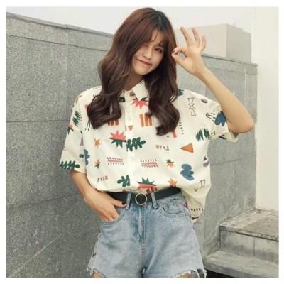 韓国風 可愛い カジュアルポリエステル半袖 プリント折り襟ボタンシャツ サイズフリー