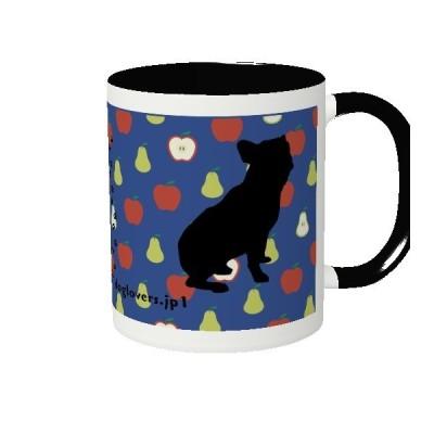 2トーンマグカップ ブラック APPLE DOG おうちカフェ プレゼントに