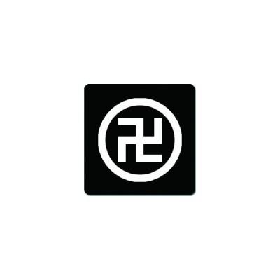 家紋シール 丸に五つ割り左万字紋 24cm x 24cm KS24-0526W 白紋