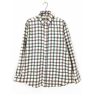 古着 80s USA製 LL Bean ホワイト チェック ボタンダウン フランネル シャツ ネルシャツ L 古着