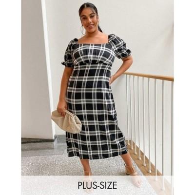 ミスガイデッド レディース ワンピース トップス Missguided Plus midi dress with puff sleeve in black check
