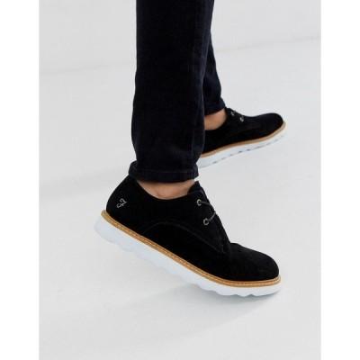 ファーラー メンズ スニーカー シューズ Farah leather lace up shoe in black Black