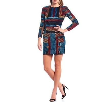 アイダンアイダンマトックス レディース ワンピース トップス Long Sleeve Beaded Striped Mesh Mini Sheath Dress