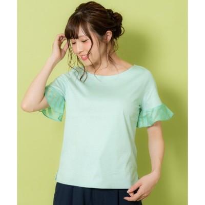 tシャツ Tシャツ ボーダーワッフル付きプルオーバー(9R15-04061)