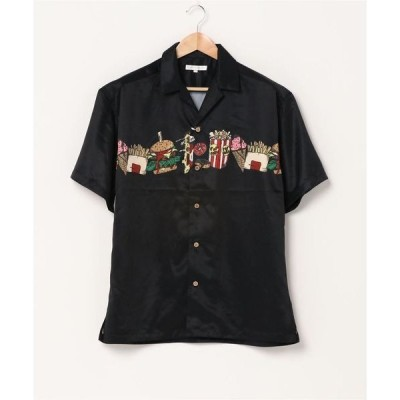 シャツ ブラウス 【POWER TO THE PEOPLE】オリジナルプリント オープンカラーシャツ 開襟シャツ 半袖シャツ