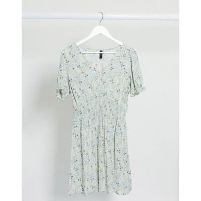 ワイエーエス レディース ワンピース トップス Y.A.S mini dress with shirred waist in ditsy floral