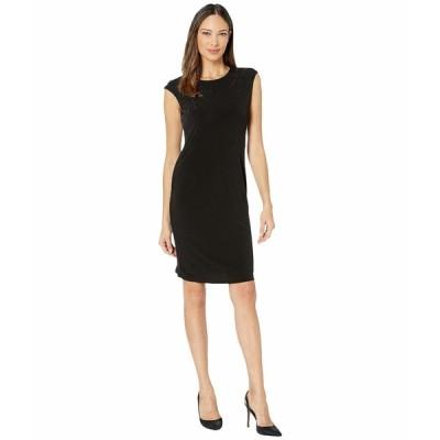 カルバンクライン ワンピース トップス レディース Sleeveless Dress with Floral Applique Black