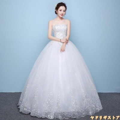 ウエディングドレス 安い 結婚式  花嫁 二次会 パーティードレス ノースリーブ 編上げ  刺繍 レースアップ Aライン ウェディングドレス 白 大きいサイズ