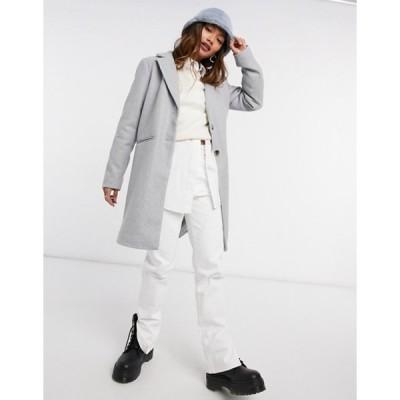 ヴィラ レディース コート アウター Vila tailored pea coat in gray