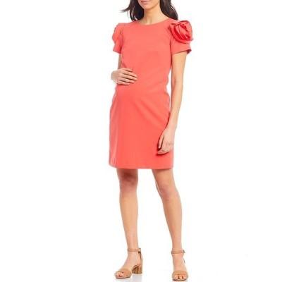 アレックスマリー レディース ワンピース トップス Tiffany Maternity Scuba Puff Sleeve Dress Coral