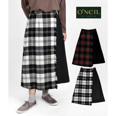 レディース フレアスカート オニールオブダブリン (ONEIL OF DUBLIN) ヘビーツイード タータンチェック コンビラップフレアスカート C807