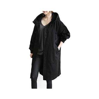 [エンジェルムーン] ロングコート フード付き レディース 長袖 膝丈 無地 シンプル トレンチコート    Free Size