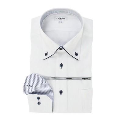 【タカキュー】 イージーケア レギュラーフィット ボタンダウン長袖ビジネスドレスシャツワイシャツ メンズ ホワイト L:41-82 TAKA-Q