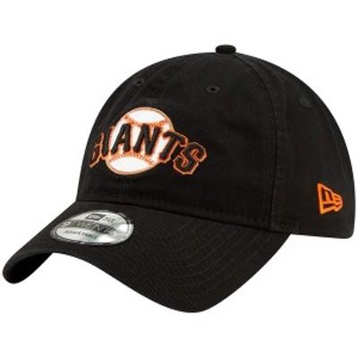 ニューエラ メンズ 帽子 アクセサリー San Francisco Giants New Era Core Classic Logo 9TWENTY Adjustable Hat Black