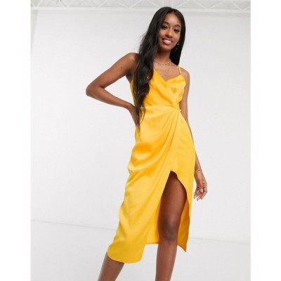 リトル ミストレス Little Mistress レディース ワンピース ラップドレス ワンピース・ドレス satin wrap dress in marigold マリーゴールド イエロー