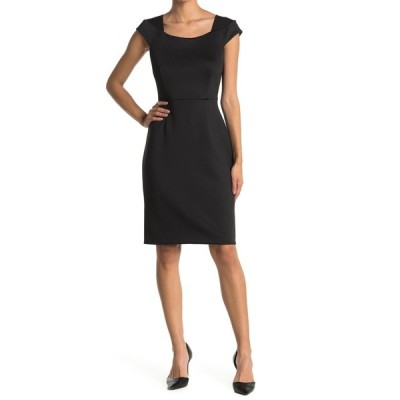カルバンクライン レディース ワンピース トップス Cap Sleeve Sheath Dress BLACK