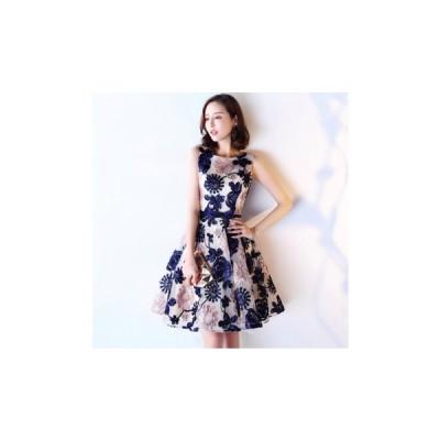 パーティードレス 刺繍 花柄 ひざ丈 フレアスカート 大人 レディース ワンピース 結婚式 二次会 お呼ばれドレス kh-0108
