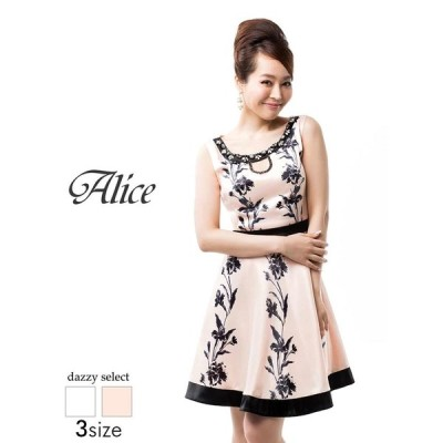 ドレス キャバドレス ワンピース ナイトドレス 大きいサイズ Alice S M L サイズ 谷間ホール花柄ノースリAライン ミニドレス 白 ピ