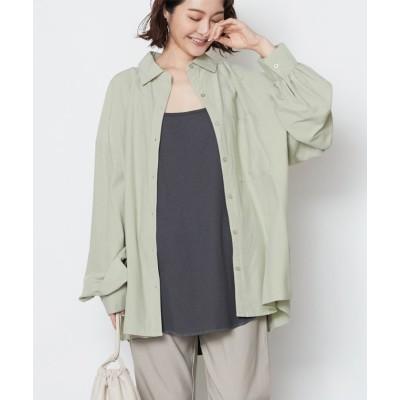 【リジュール】 シアー素材 バックレースアップ オーバーサイズシャツ レディース グリーン F Rejoule