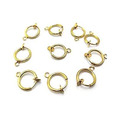 BEAUTY PLAYERフープイヤリング パーツ カン付き 10個入り ゴールド わっかのパイプ イヤリング金具 (フープイヤリング)