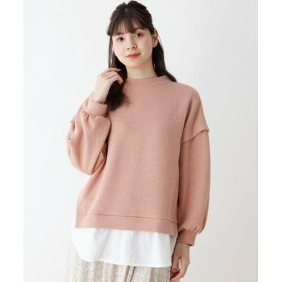 SHOO・LA・RUE/シューラルー レイヤード風ドロップショルダー裾シャツ ライトオレンジ(066) 03(L)