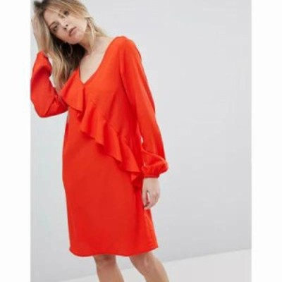 ヴィラ ワンピース Ruffle Panel Dress Orange.com