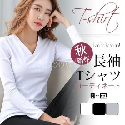 秋新作 Tシャツ長袖 ゆったり シンプル カジュアル トップス スリム ファション
