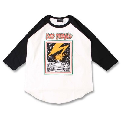 (W) バッドブレインズ BADBRAINS 1 WHT×BLK B/B(七分袖) ラグラン ベースボールTシャツ 7分袖 バンドTシャツ ロックTシャツ