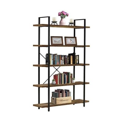 Sorbus Bookshelf 5 Tiers Open Vintage Rustic Bookcase Storage Organizer, Modern Industrial Style Book Shelf Furniture for