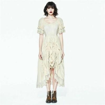 ドレス ゴシック パンク セクシー  レディース Gothic Women's Short Puff Sleeve Romatic Dress Cream Colored Lace Cotton Dress