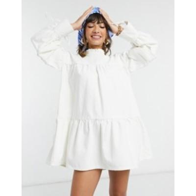 エイソス レディース ワンピース トップス ASOS DESIGN denim pie crust smock dress with puff sleeves in off white Off white