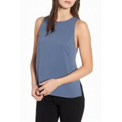 ASTR アストール ファッション トップス ASTR Womens Tank Cami Top Blue XL Sleeveless Cutout Keyhole Chiffon