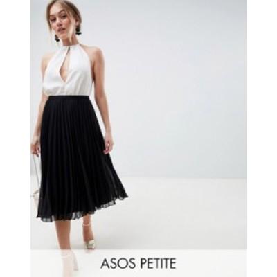エイソス レディース スカート ボトムス ASOS DESIGN Petite pleated midi skirt Black