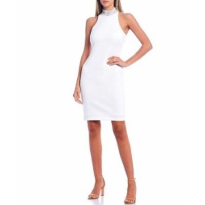 カルバンクライン レディース ワンピース トップス Scuba Crepe Sleeveless Embellished Mock Neck Sheath Dress White