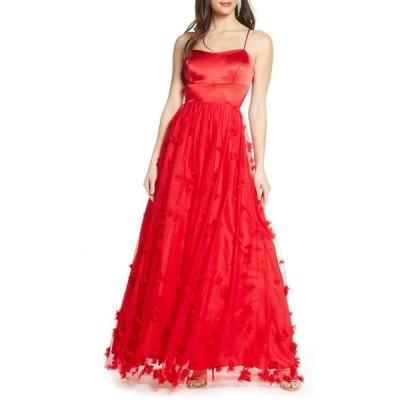 シークインハーツ レディース ワンピース トップス Sequin Hearts 3D Floral Lace-Up Gown