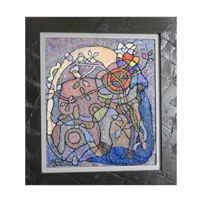 油絵抽象画による「思考絵画」題。時熟〜花と花瓶F10号