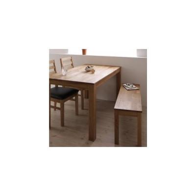 ダイニングテーブルセット 総無垢材ワイドダイニング 4点セット テーブル+チェア2脚+ベンチ1脚 オーク PVC座 W160