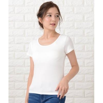 (Lace Ladies/レースレディース)カップ付き半袖Tシャツ トップスインナー/レディース ホワイト