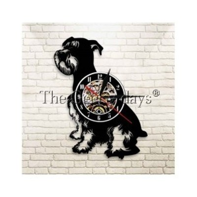 アナログ時計 壁掛け時計  インテリア雑貨  壁アート  シュナウザー 犬  30cm レコード盤
