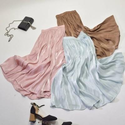スカート レディース サテンスカート 光沢 ツヤ とろみスカート 落ち感 ひざ丈 ミディアム ロング フレアスカート オフィスカジュアル オフィススタイル 大人…