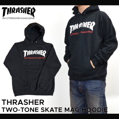 THRASHER スラッシャー TWO-TONE SKATE MAG HOODIE プルオーバー パーカー メンズ ストリート スケート スウェット フリース マグロゴ 黒 ブラック