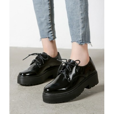 Shoes in Closet -シュークロ- / 厚底 マニッシュ 超軽量 レースアップシューズ 《約4.5cmソール》1995 WOMEN シューズ > ドレスシューズ